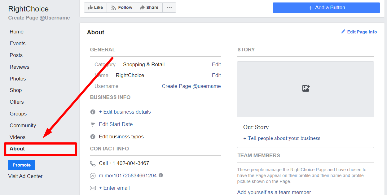 Facebook Business Page section