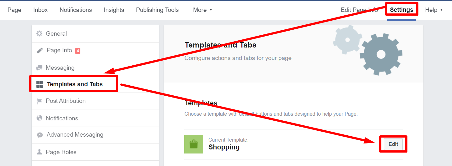 Settings Facebook Business Page