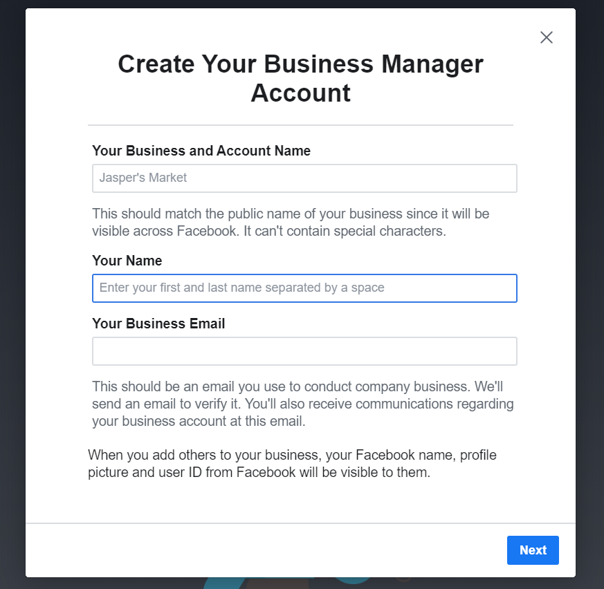 mail Create Facebook Ads Account