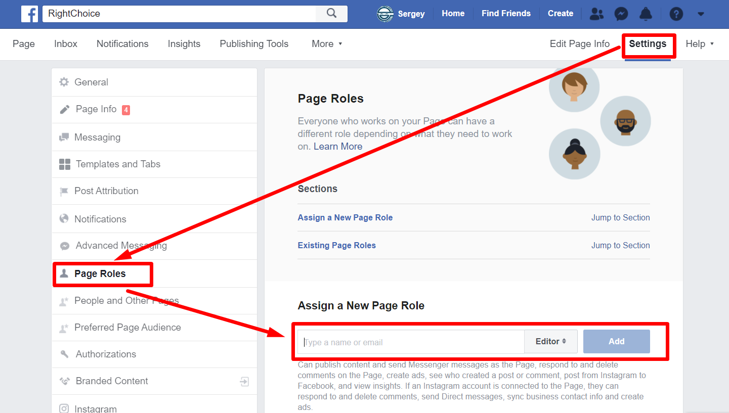 Facebook Business Page roles