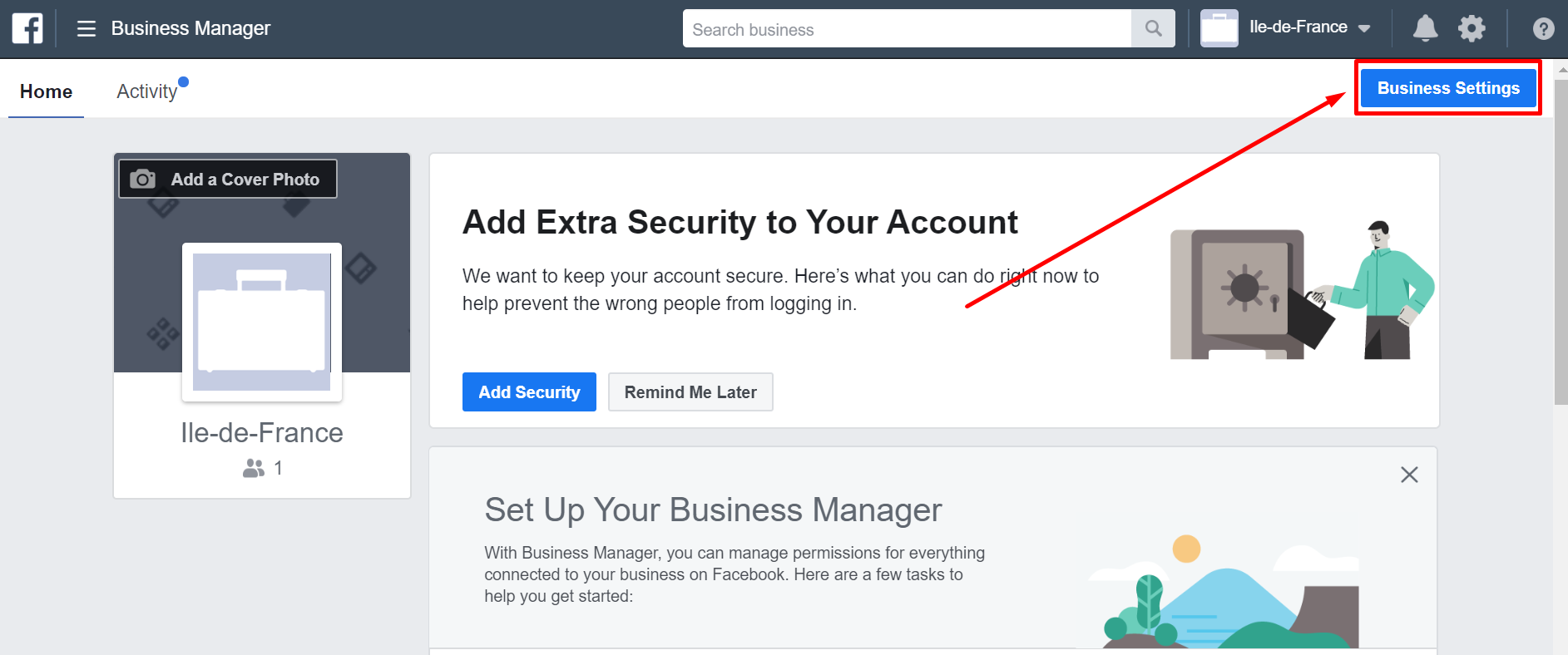 screen Create Facebook Ads Account