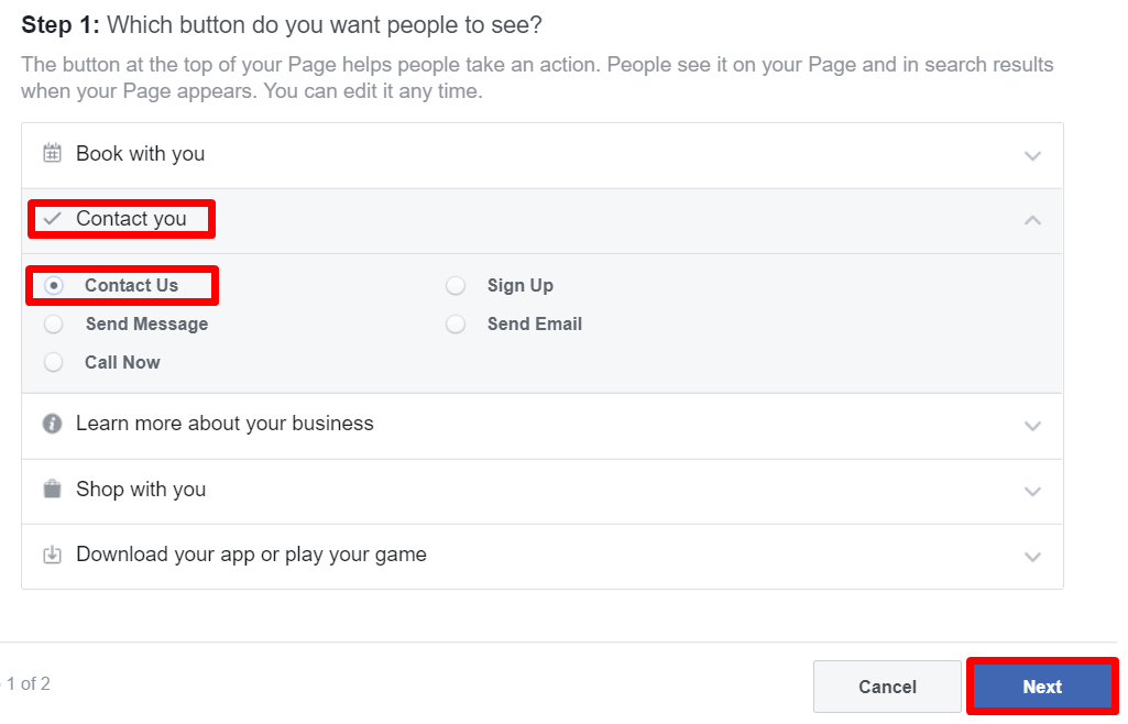 Facebook Business Page Next
