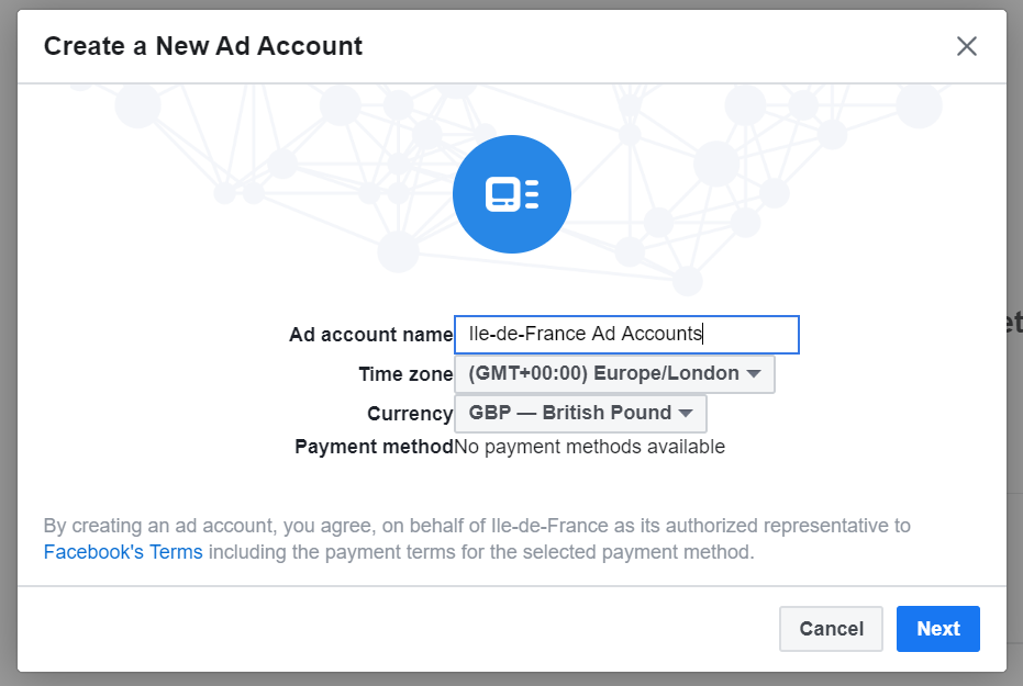 Select Create Facebook Ads Account