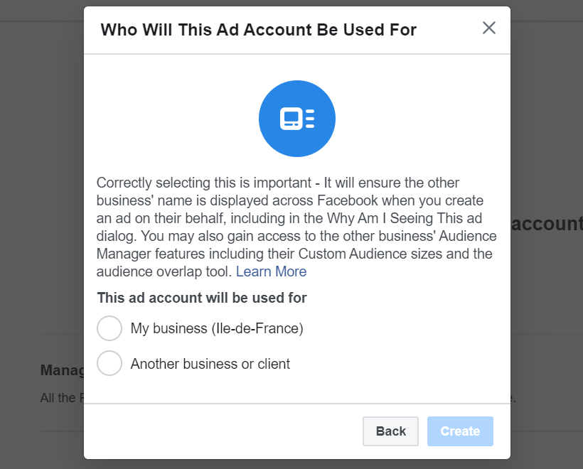 business Create Facebook Ads Account