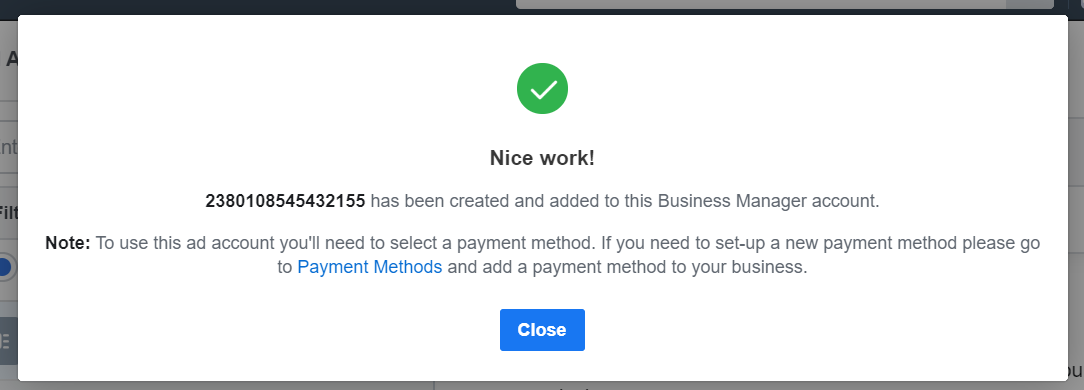 notification Create Facebook Ads Account