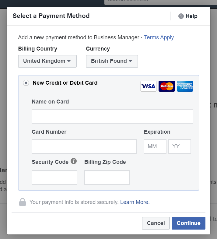 postpay Create Facebook Ads Account