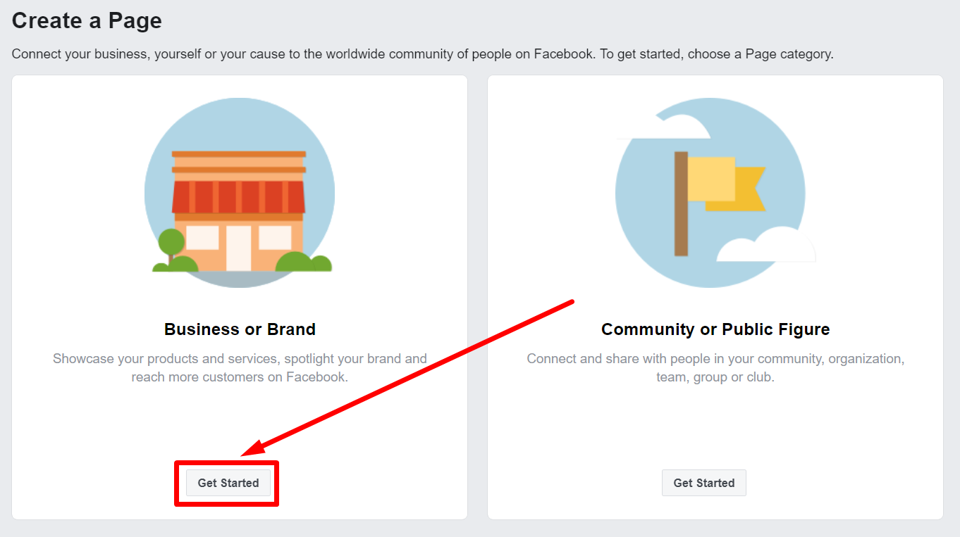 Facebook Business Page Choose an activity profile