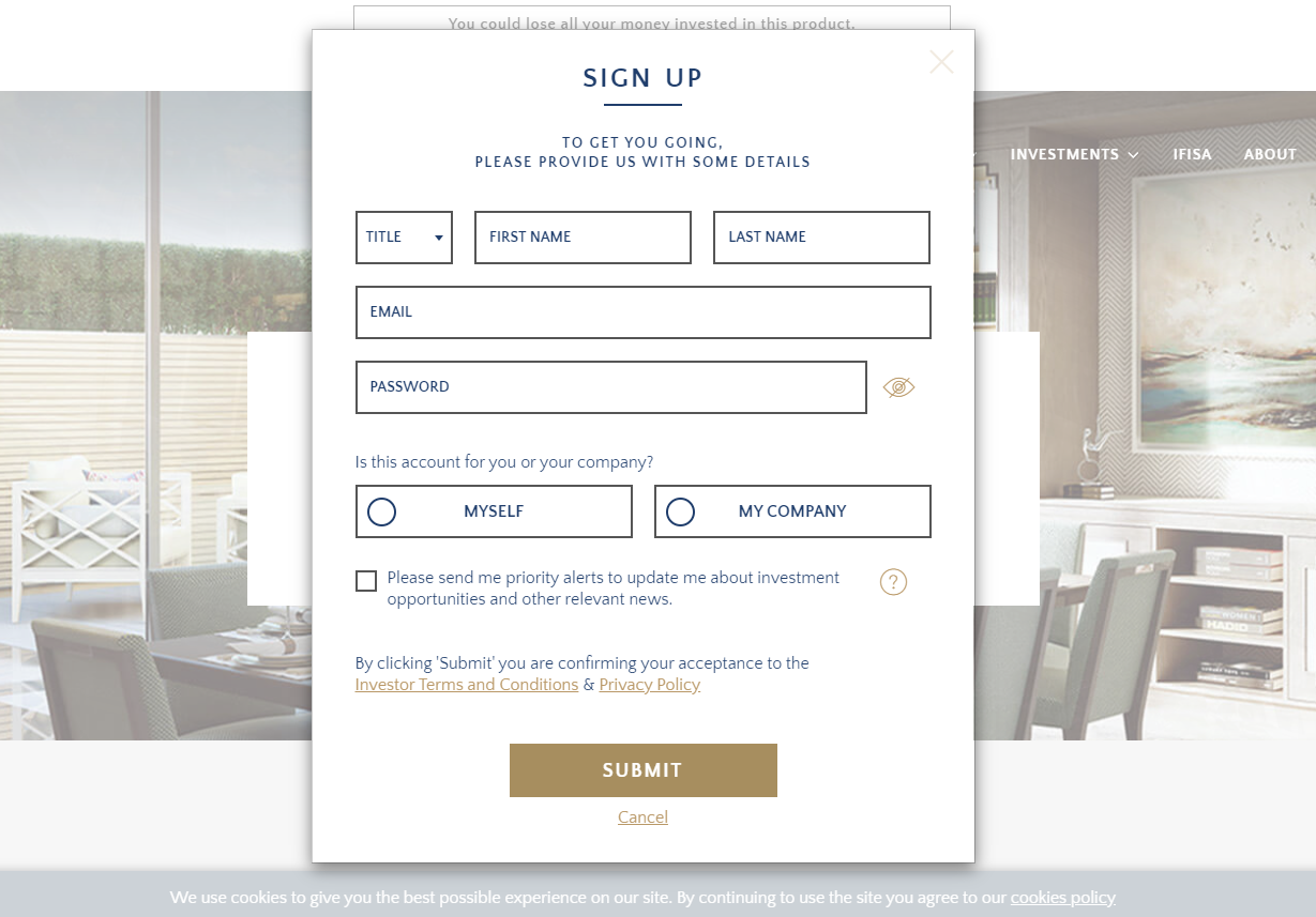 CapitalRise Registration Form Cost to Start a Crowdfunding Website