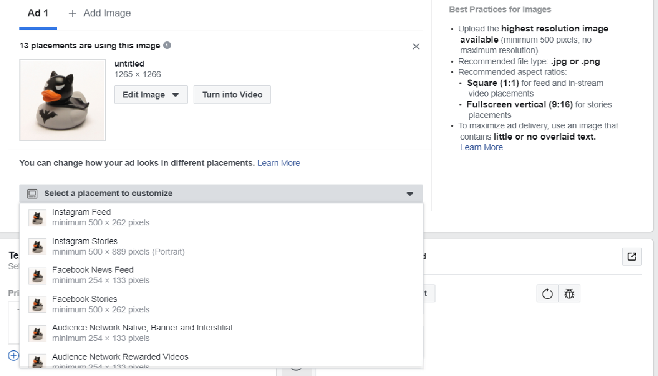 Facebook Ads Manager положение