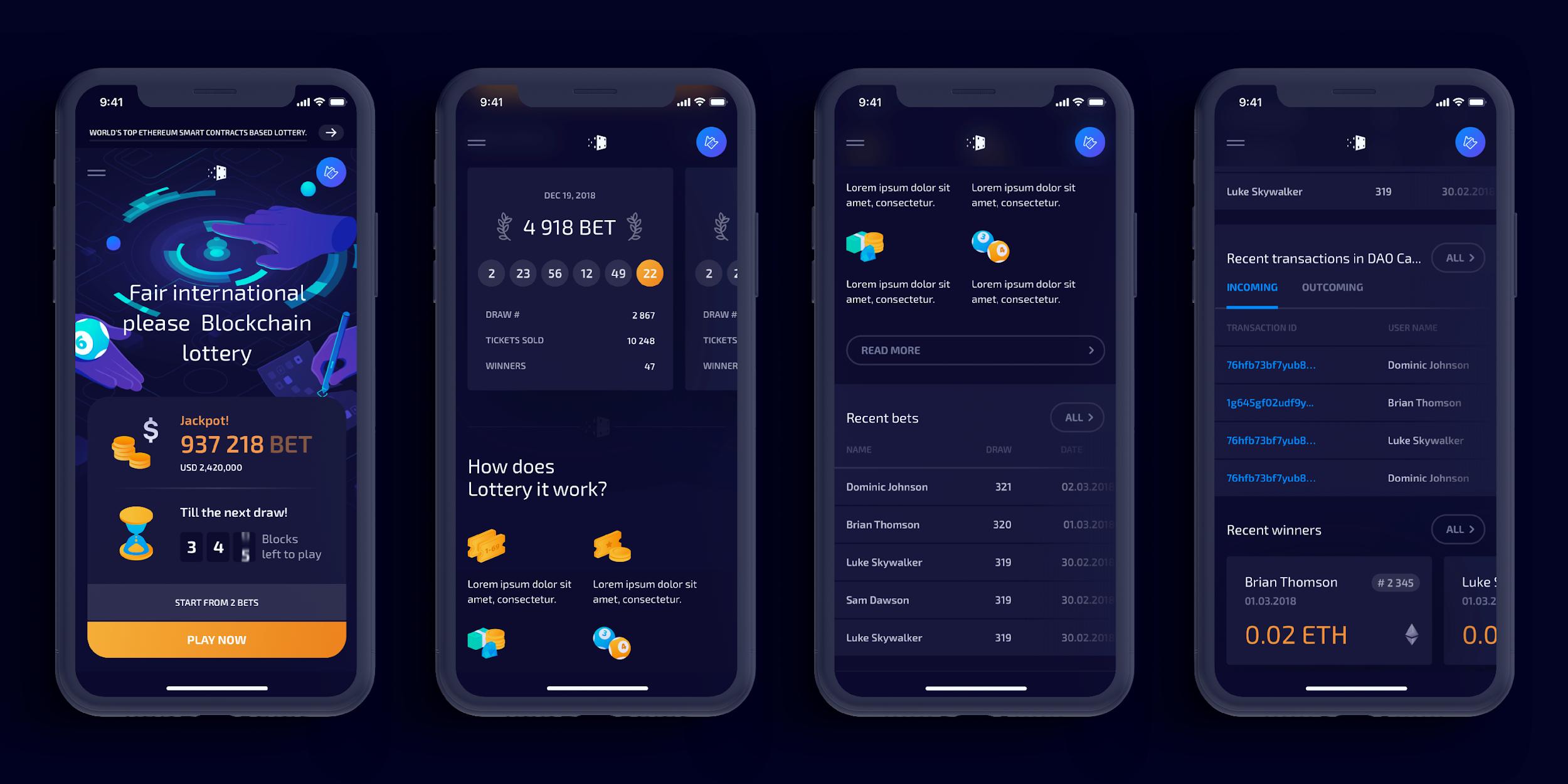 Blockchain Lottery interface