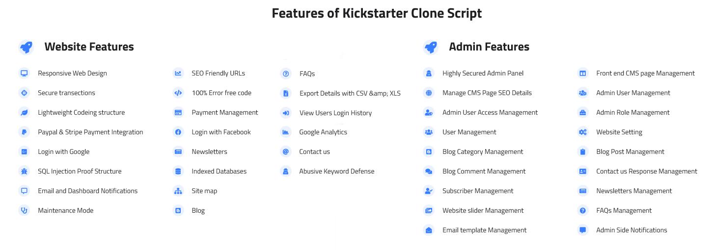 Kickstarter Website Clone Key features