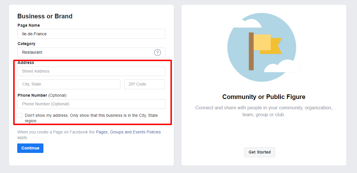Continue Create Facebook Ads Account