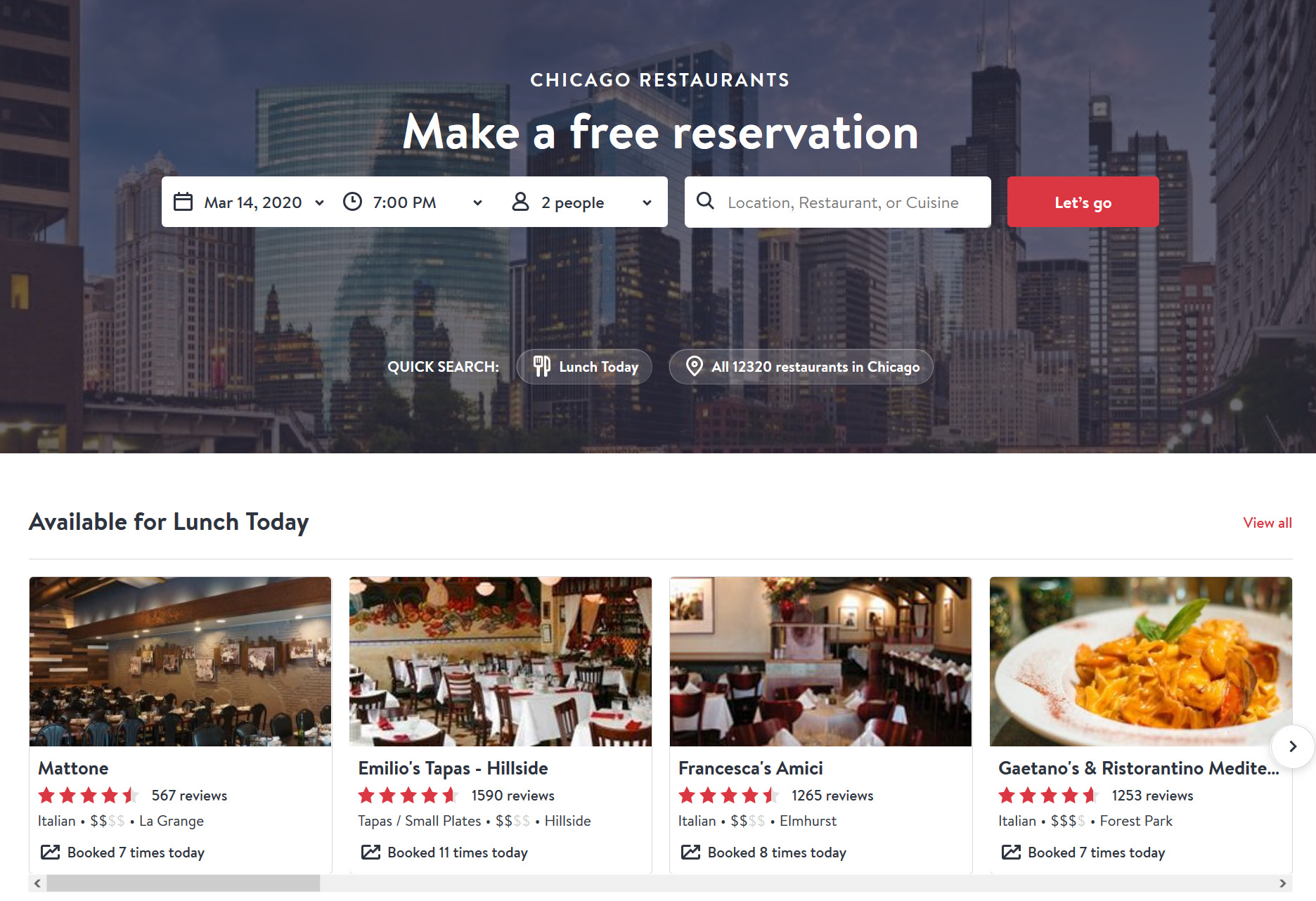 Build Review Website OpenTable
