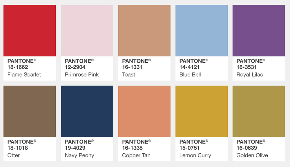 Pantone Color Trends 2019: List