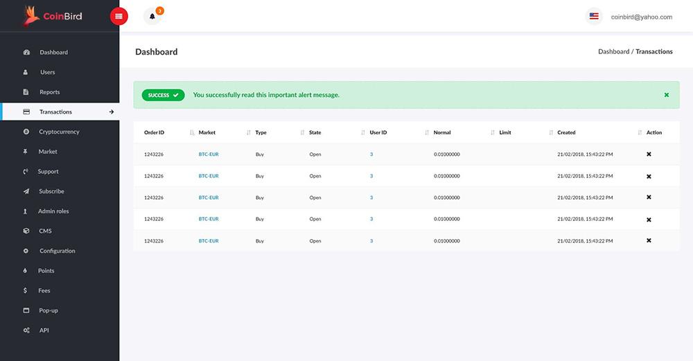 Bitcoin/Cryptocurrency Trading Exchange Platform Admin Panel Transaction