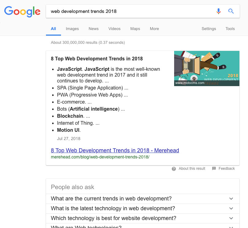 SEO trends 2019 - zero position in google