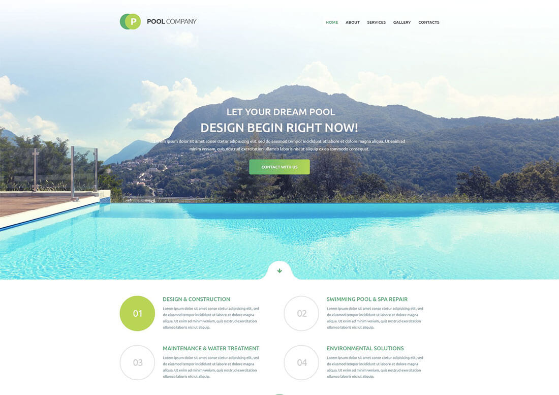 Website ideas 2018: Swimming pools cleaning
