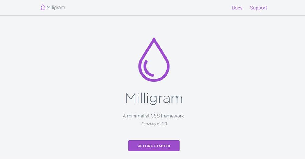 CSS Frameworks 2019 - Milligram