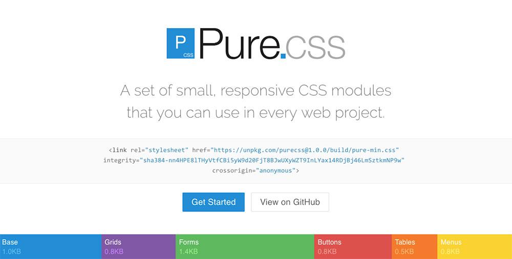 CSS Frameworks 2019 - Pure Css