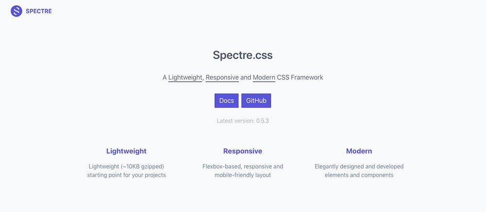 CSS Frameworks 2019 - Spectre