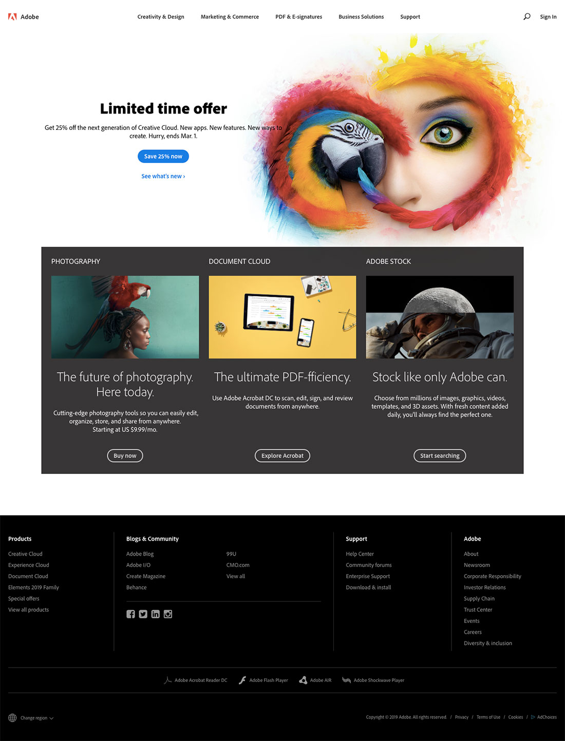 Adobe - web design example