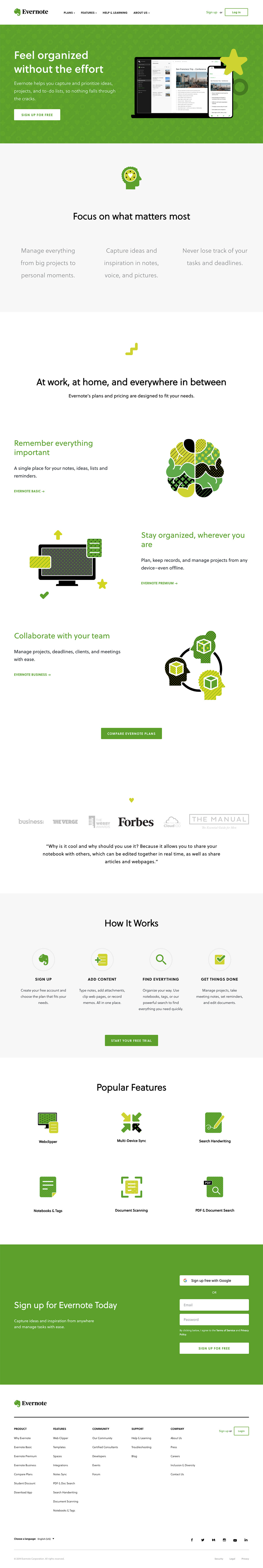 Evernote - web design example