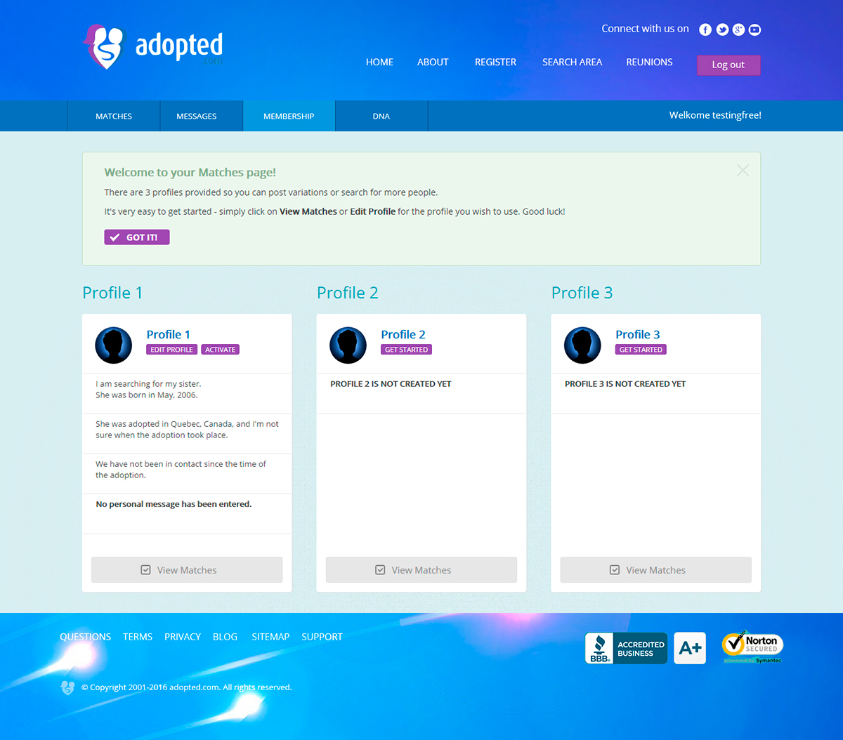 Adopted allows people to find other families members - Business project - Web-design - Merehead Development