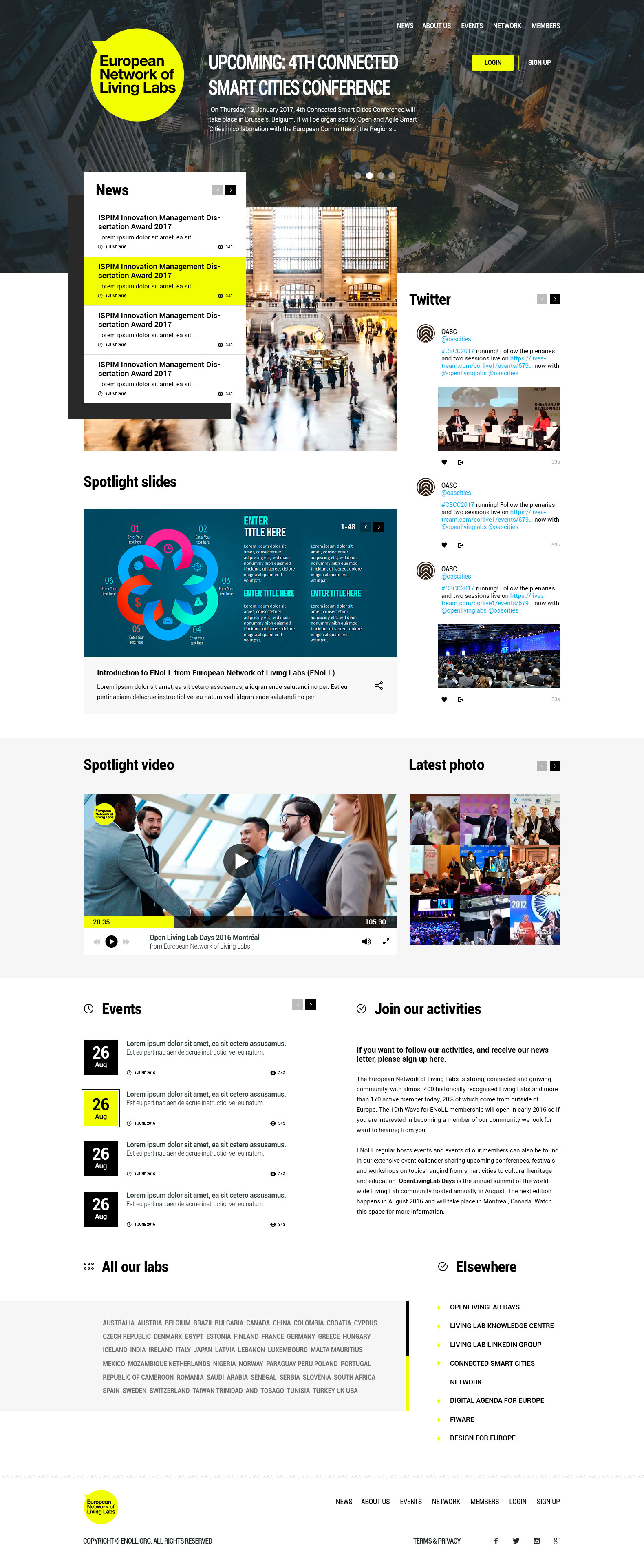 European Network of Living Labs - Homepage - Web-design - Merehead Development