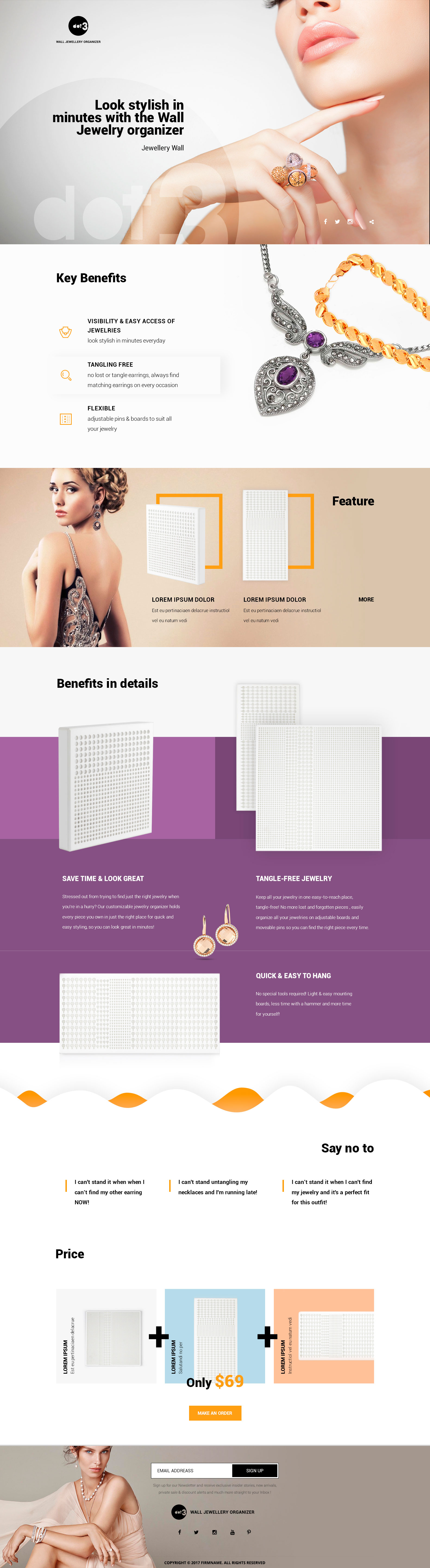 Jewelry organizer - Landing page - Web-design - Merehead Development