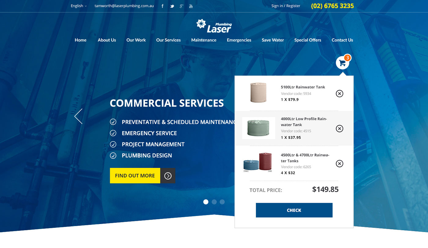 Laser Plumbing - Company website - Web-development - Merehead Development