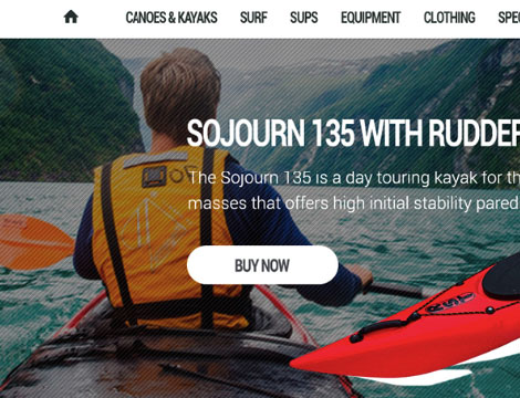 E-commerce website for sale of equipment for water sports