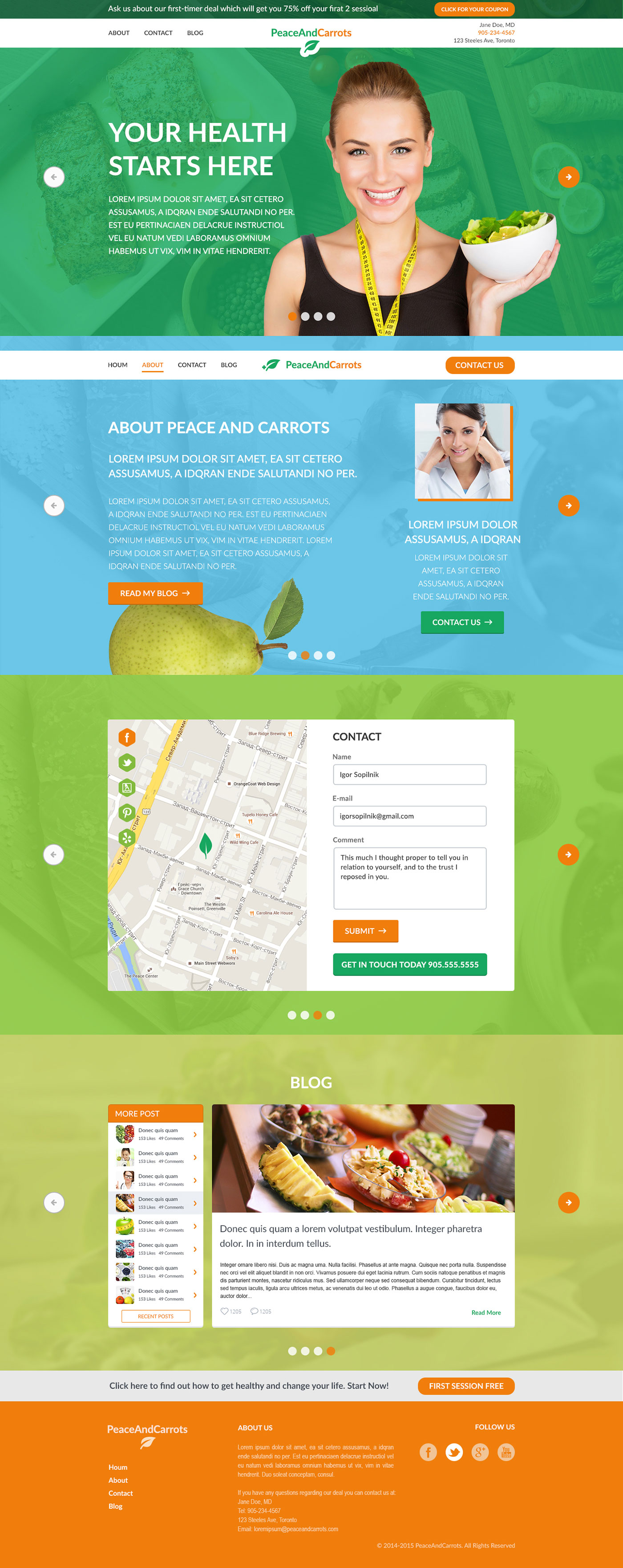 Peace and Carrots - Health project - Web-development - Merehead Development