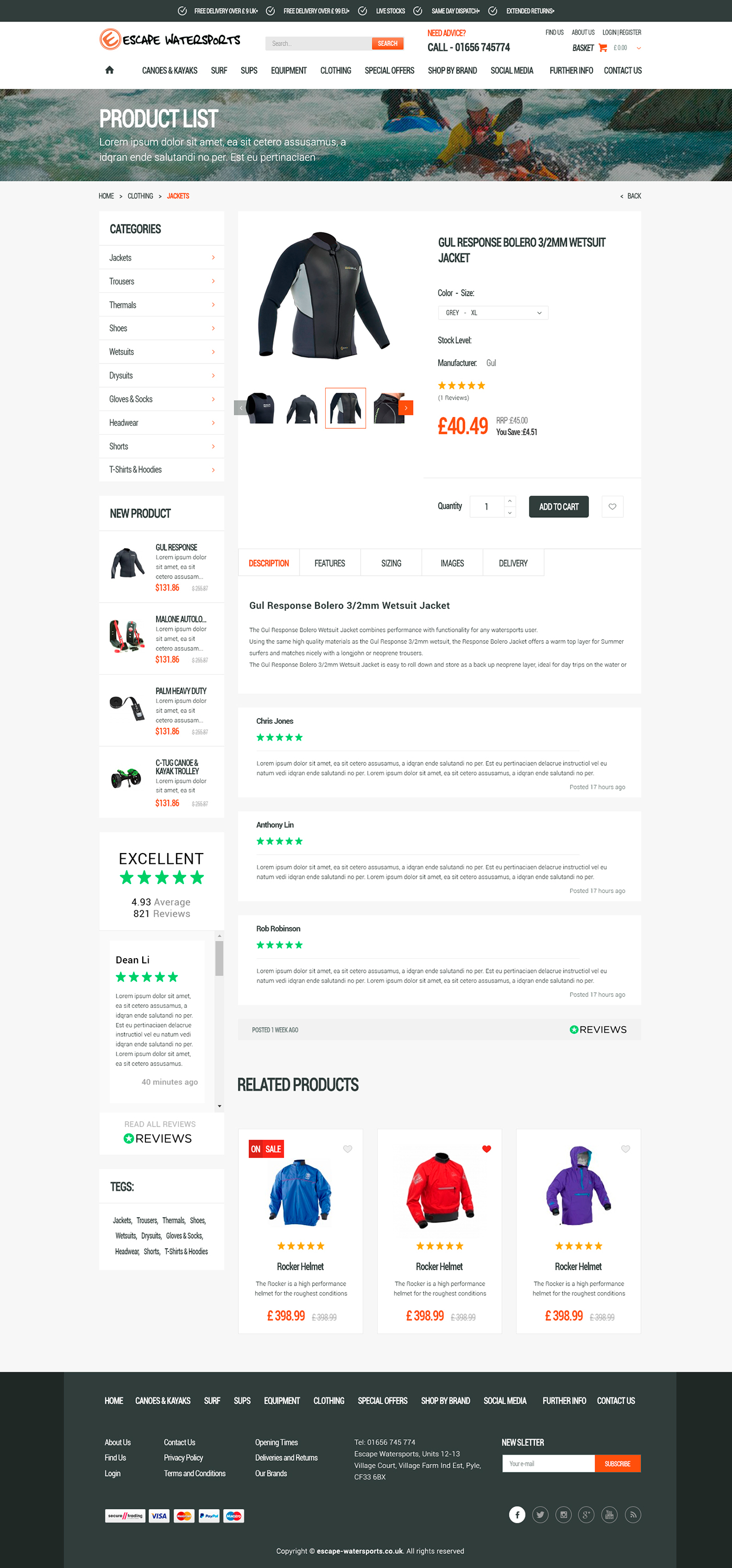 E-commerce website for sale of equipment for water sports - E-commerce project - Web-design - Merehead Development